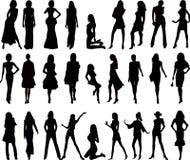 Sexy vrouwensilhouetten - vector Royalty-vrije Stock Foto's