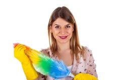 Sexy weibliche Haushälterin mit Flanell lizenzfreies stockfoto