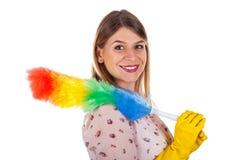 Sexy weibliche Haushälterin mit Flanell lizenzfreies stockbild