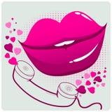 Sexy weibliche Lippen und Telefon Lizenzfreies Stockfoto