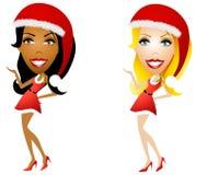 Sexy weibliche Santa Helpers stockfotos