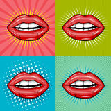 Sexy wet red lips with teeth pop art set backgrounds Stock Photo