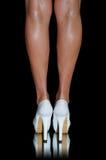 Sexy white high heels Stock Photos
