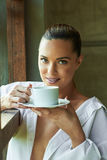 Sexy white shirt window, looking, out coffee tea cup view beauti Royalty Free Stock Photo