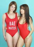 Sexy wijfje twee die een sexy rode bikini dragen Stock Fotografie