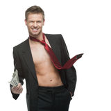 Sexy winking businessman in red tie holding money Royalty Free Stock Photos