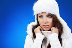 Sexy winter girl Stock Images