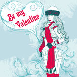 Sexy winter girl with a decorative valentine heart Stock Photos