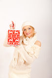 Sexy winter woman and red christmas present Stock Photos