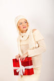 Sexy winter woman and red christmas present Stock Images