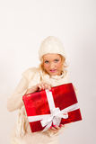 Sexy winter woman and red christmas present Stock Photography