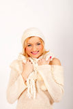 Sexy winter woman in white scarf and hat Stock Photography