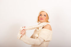 Sexy winter woman in white scarf and hat Royalty Free Stock Images