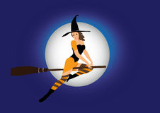 Sexy witch. Flying on broom Royalty Free Stock Photos