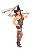 Sexy witch with broom Stock Image