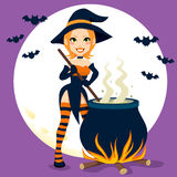 Sexy Witch Cauldron Stock Photo