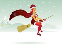 Sexy witch in christmas red Royalty Free Stock Photos