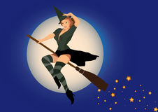 Sexy witch. Flying on broom Royalty Free Stock Images