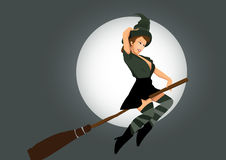 Sexy witch. Flying on broom Stock Photo