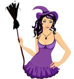 Sexy witch girl with broom Royalty Free Stock Photography