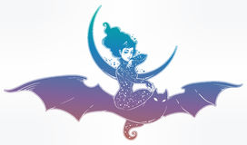 Sexy witch girl flyng on a bat over the moon. Royalty Free Stock Images
