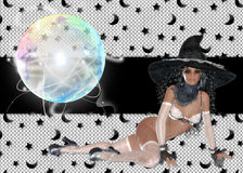 Sexy Witch Glass Globe Background Royalty Free Stock Photos