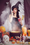 Sexy witch with a glass, tinted Stock Photo