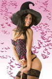 Sexy witch with hat Stock Photos