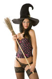 Sexy witch in lingerie Stock Photos