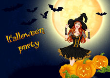 Sexy witch and pumpkins on full moon background Royalty Free Stock Photos