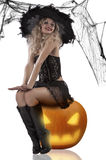 Witch sitting on a pumpkin. Very and attractive blonde dressud up as a witch wearing a black feather hat and sitting on pumpkin stock photos