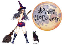 Sexy witch standing in hat with broom and black cat. Hand Painted Watercolor Illustration : Sexy witch standing in hat with broom and black cat Royalty Free Stock Photo