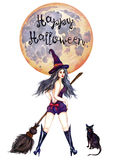 Sexy witch standing in hat with broom and black cat. Hand Painted Watercolor Illustration Isolated: Sexy witch standing in hat with broom and black cat Royalty Free Stock Photography