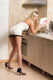 Woman. Washing up and posing royalty free stock images