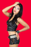Sexy woman. Woman dressed in black leather Royalty Free Stock Photo