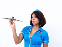Sexy woman with air hostess uniform Stock Image
