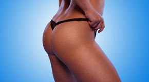 Sexy Woman Ass with Black T-Back Underwear Royalty Free Stock Images
