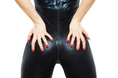 Sexy woman ass in latex catsuit Stock Photo