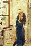 Beautiful woman in sexy dress stock image