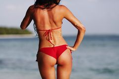 Sexy woman back on sea background Stock Image