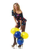 woman and balloons Stock Photo