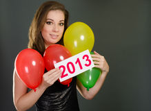Sexy woman with balloons Stock Photos
