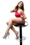 Sexy woman on bar stool Royalty Free Stock Photo