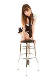 Sexy woman with barchair Royalty Free Stock Images