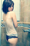 Sexy woman bathing in bathroom Royalty Free Stock Image