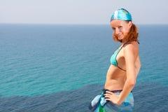 Sexy woman on the beach. Sexy woman in bikini and sarong on the beach Stock Photos