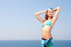 Sexy woman on the beach. Sexy woman in bikini and sarong on the beach Stock Photography