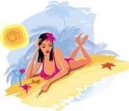 Sexy woman on the beach Stock Photos