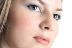 Woman with beautiful eyes. Look up stock photos