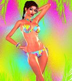 Sexy woman in bikini against a colorful gradient background. This 3d render, digital art model is perfect for themes of Summer, fun, vacation, cruise, beach Royalty Free Stock Image